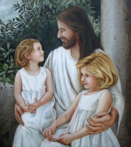 oil painting of little girls with Jesus