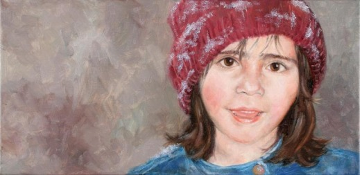 oil painting of girl child in snow hat
