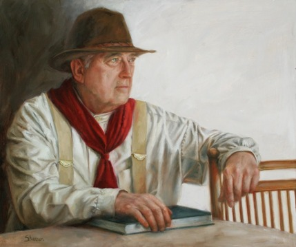 oil painting of an older man with hat, scarf and book sitting