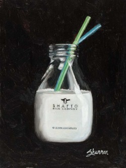 painting of glass milk jug