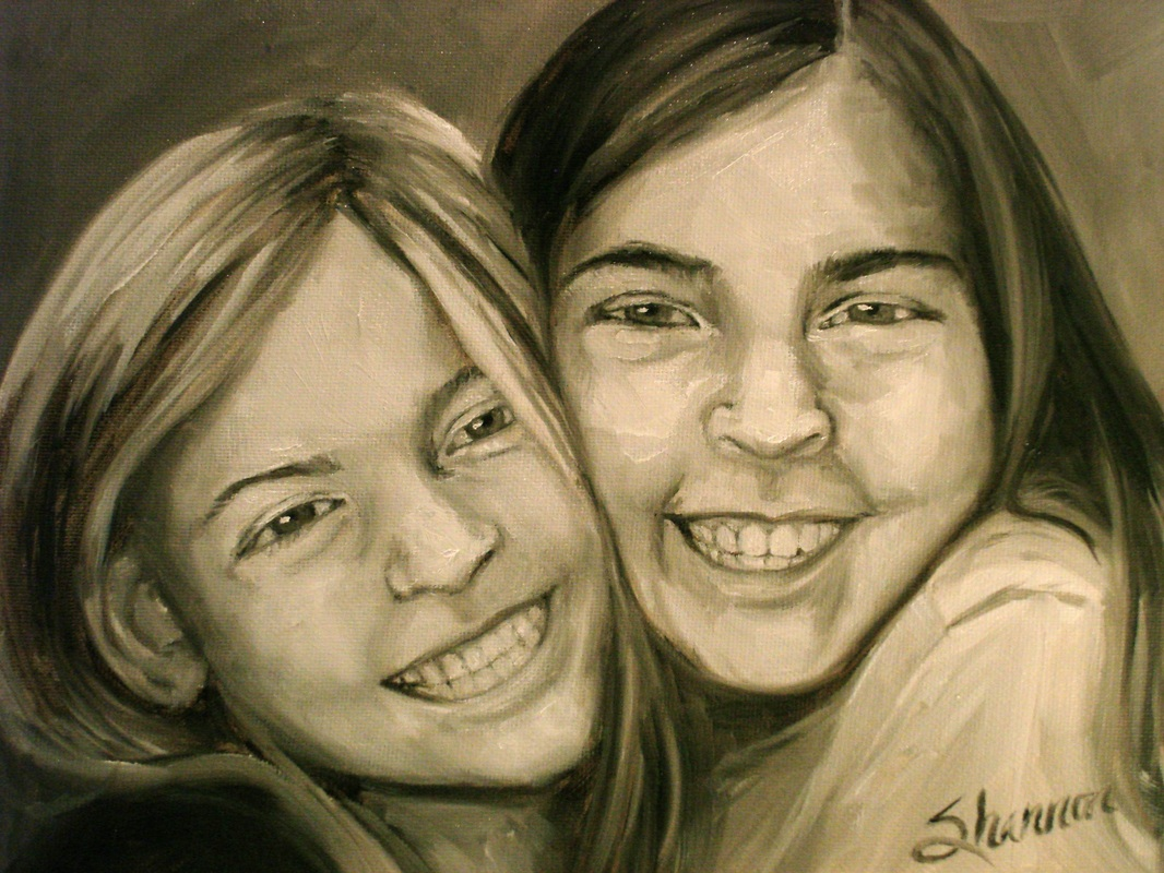 oil painting of young sisters by shannon christensen