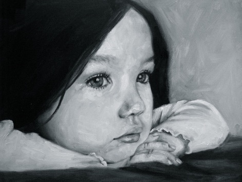 Oil painting of child by shannon christensen