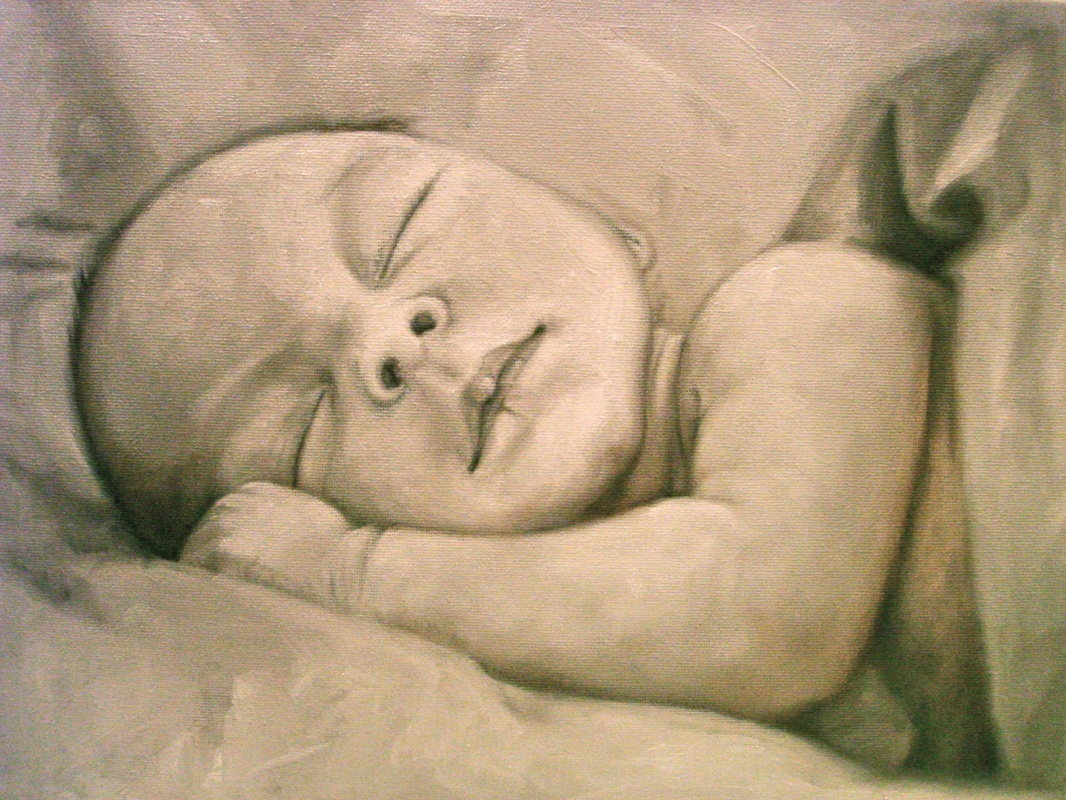 oil painting baby 50th celebration by shannon christensen