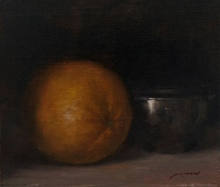justin clayton's oil painting orange with bowl