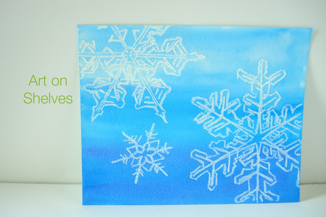 DIY Watercolor snowflake art on shelves • Shannon Christensen