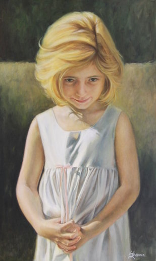 oil painting girl child in white dress