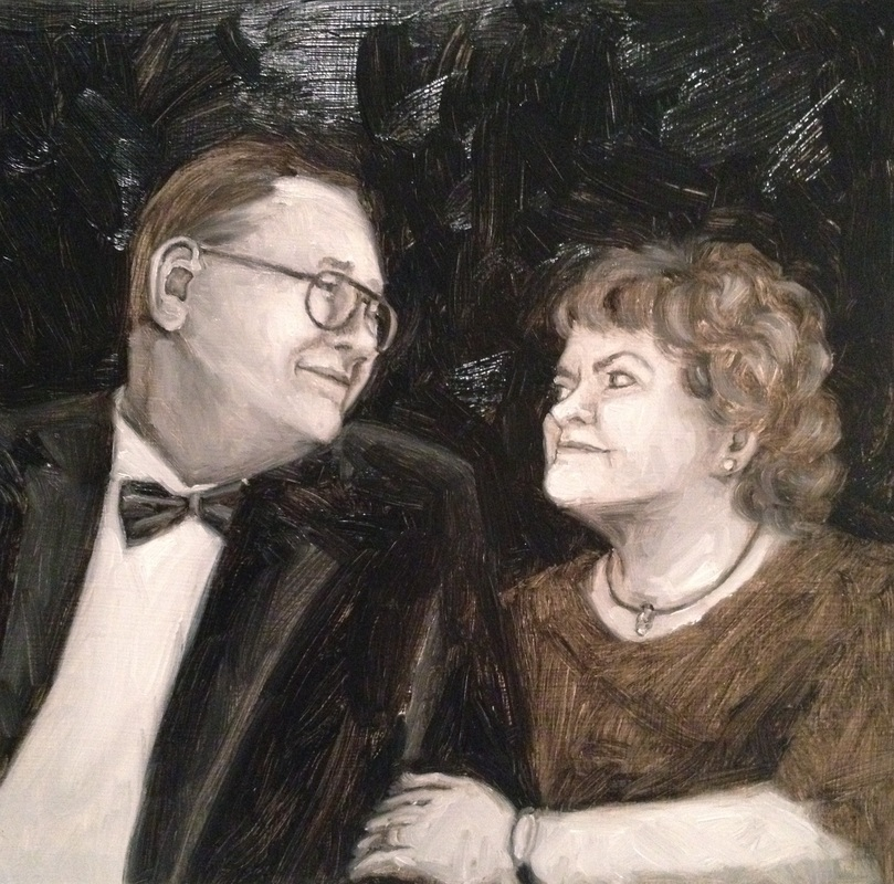 Oil painting 50th birthday celebration Mom & Dad by Shannon Christensen