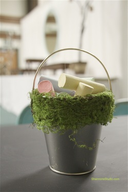ShannonsStudio.com chalk in a moss lined chalk bucket @ wedding