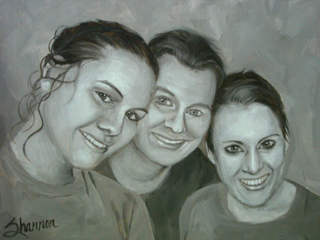 oil painting of mother and daughters by shannon christensen