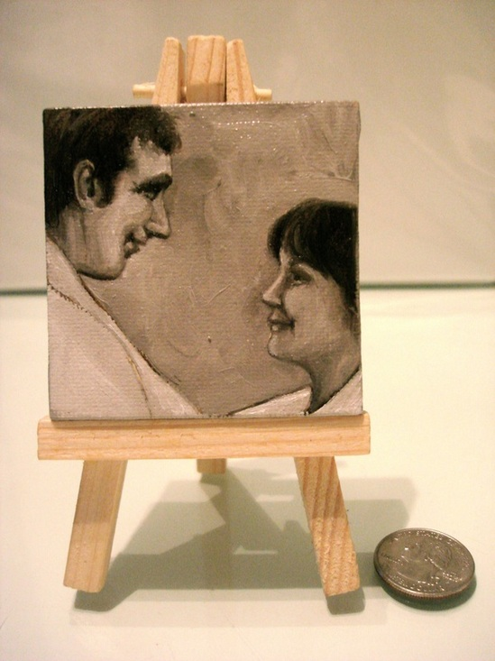 Miniature oil painting of couple by Shannon Christensen