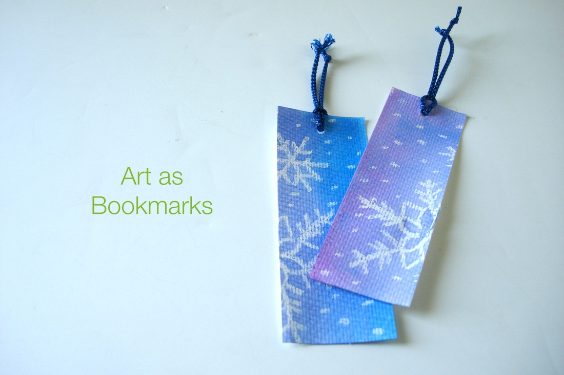 DIY Watercolor snowflake art as bookmarks • Shannon Christensen