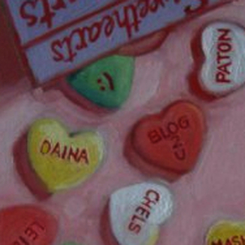 conversation hearts painting by shannon christensen