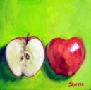 oil painting cut apple