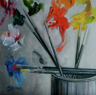 oil painting of paint and paint brushes