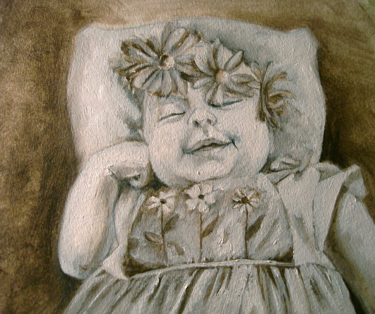 oil painting of baby with wreath by shannon christensen