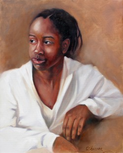 oil painting of young black girl