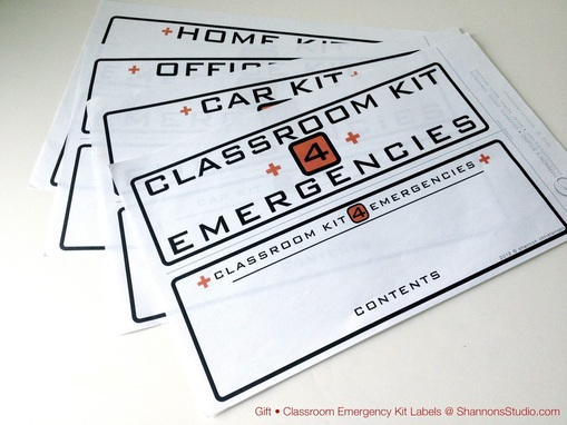 ShannonsStudio.com Emergency Kit Labels