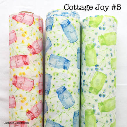 Shannon Christensen Cottage Joy Fabric collection 3 colors of Joy in a Jar