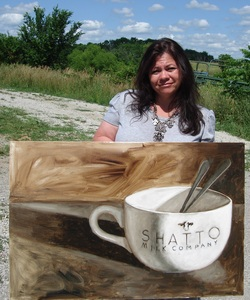 Shannon Christensen with Shatto painting
