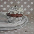 oil painting cupcake