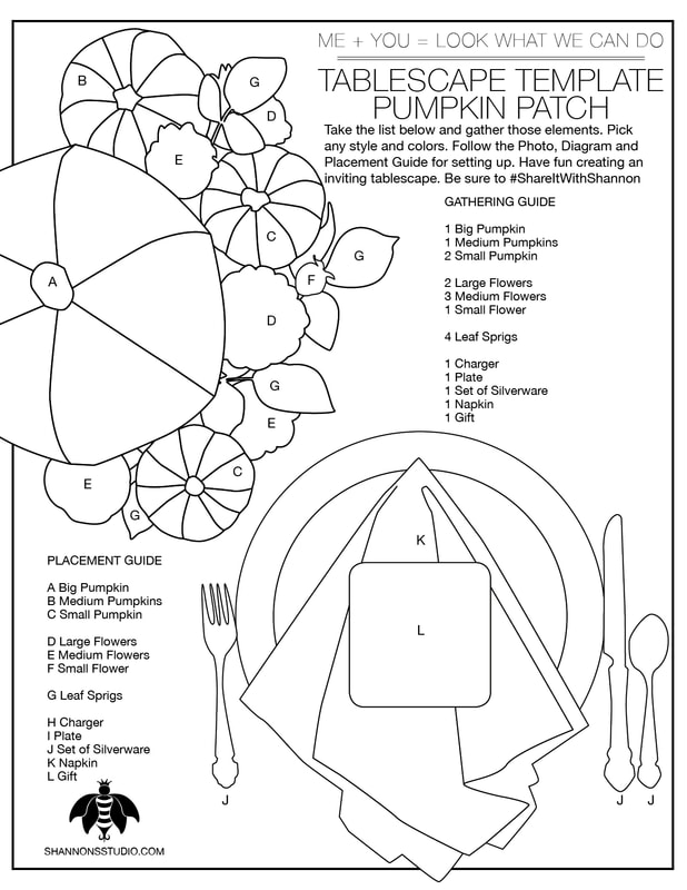 Shannon's Studio Company Tablescape Templates™ Pumpkin Patch Diagram
